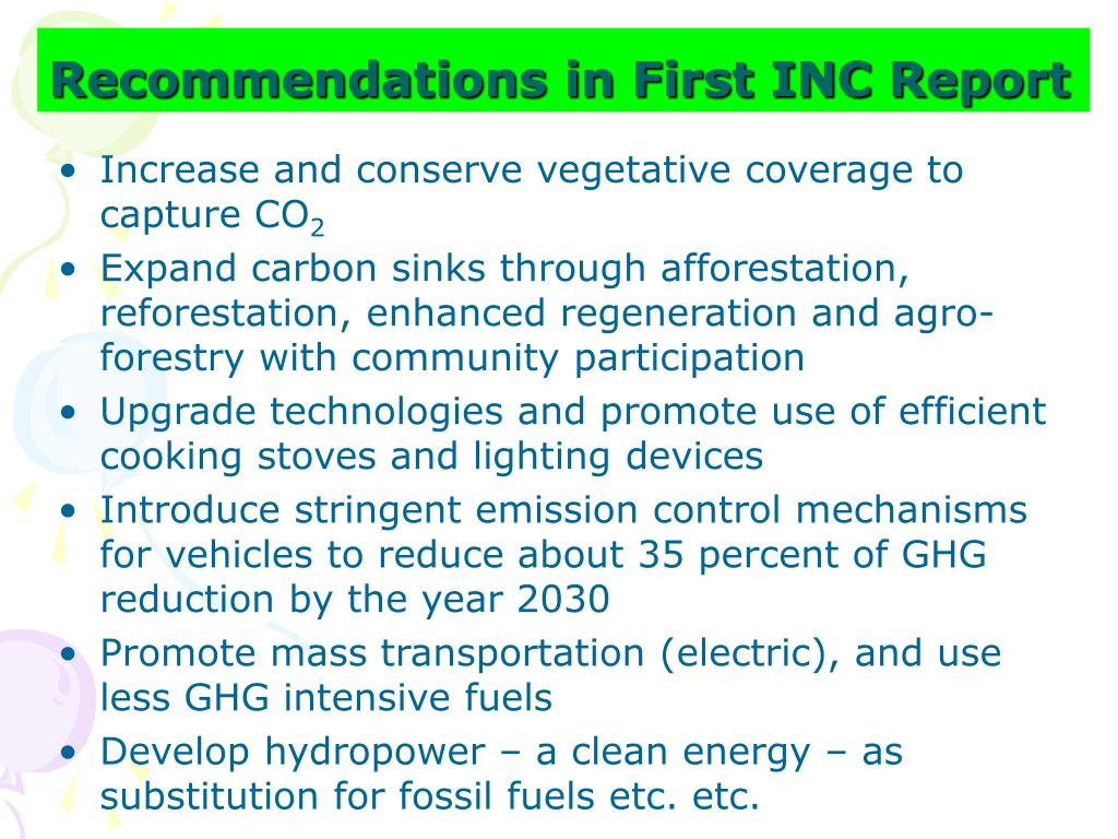 Recommendations in First INC Report