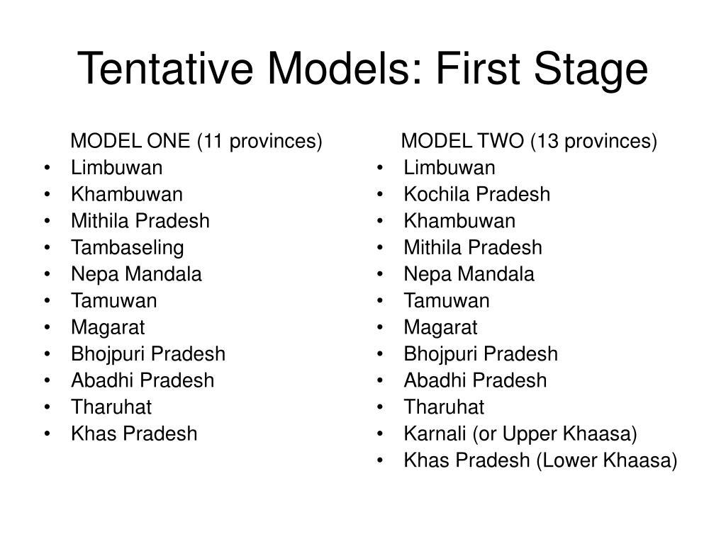 MODEL ONE (11 provinces)