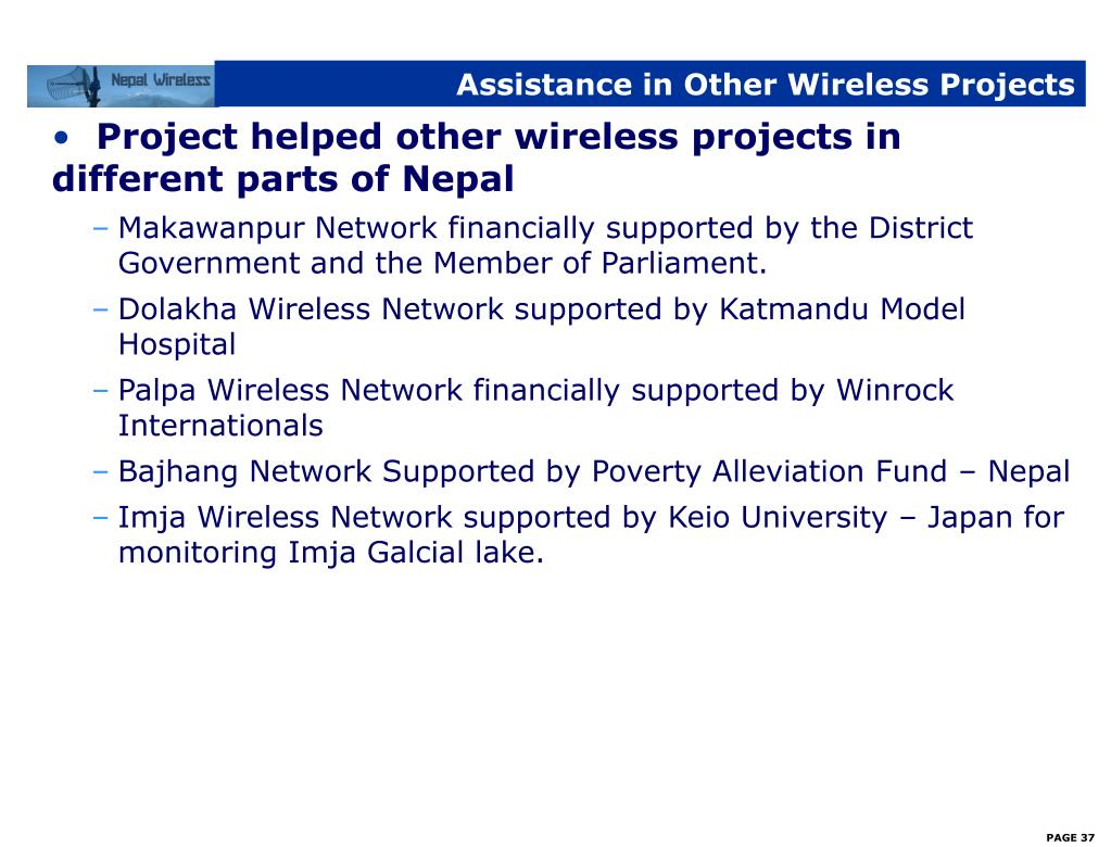 Assistance in Other Wireless Projects
