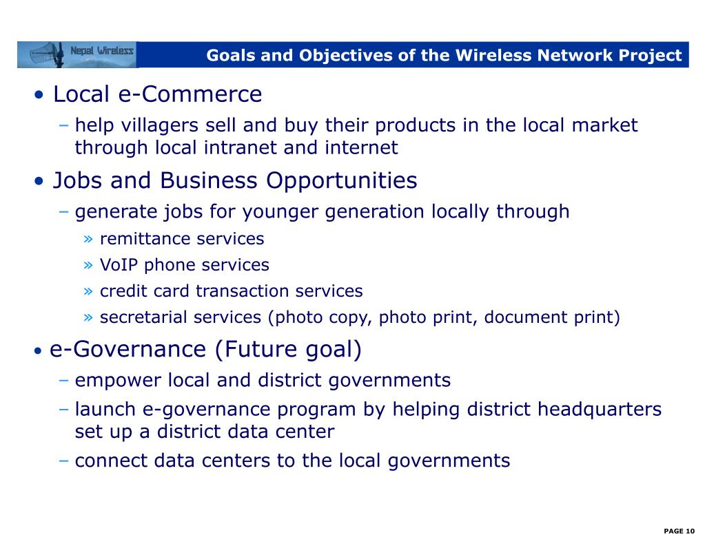 Goals and Objectives of the Wireless Network Project
