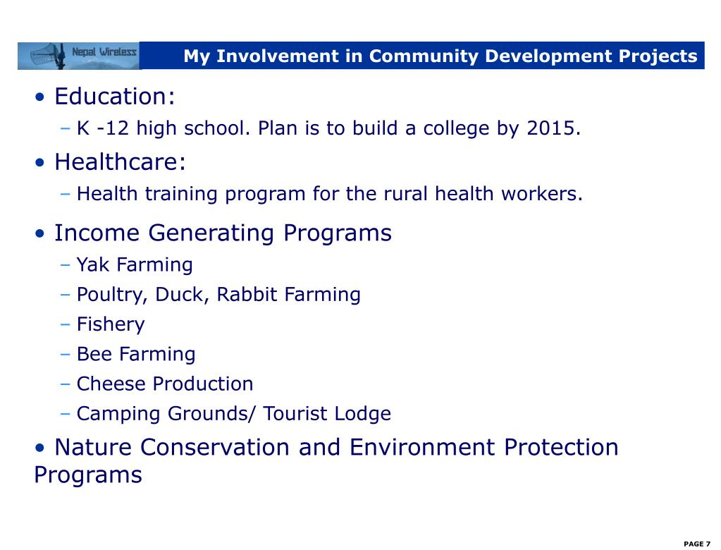 My Involvement in Community Development Projects