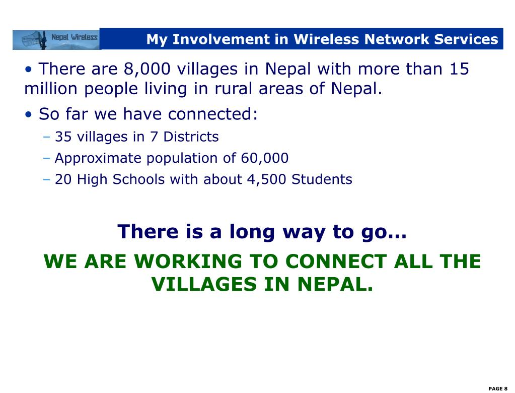 My Involvement in Wireless Network Services