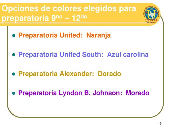 Opciones de colores elegidos para preparatoria 9