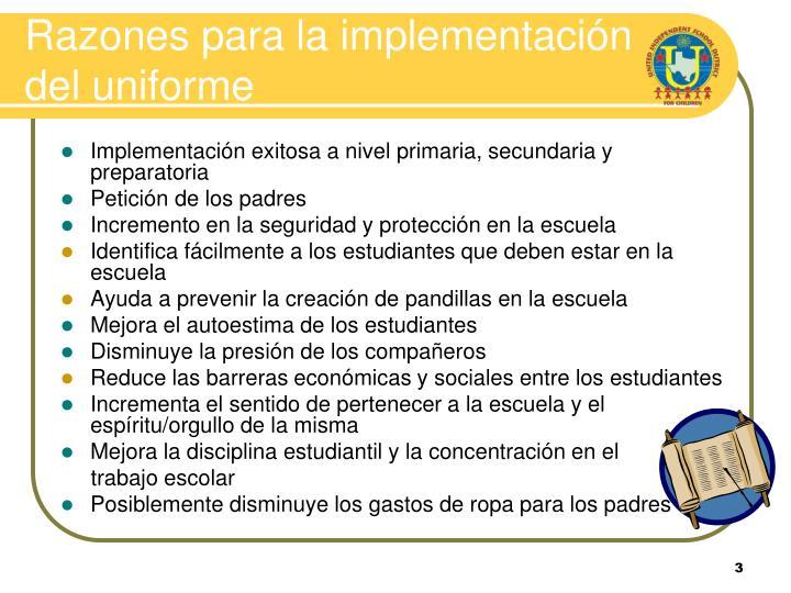 Razones para la implementación