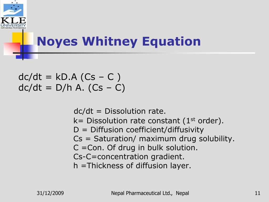 Noyes Whitney Equation