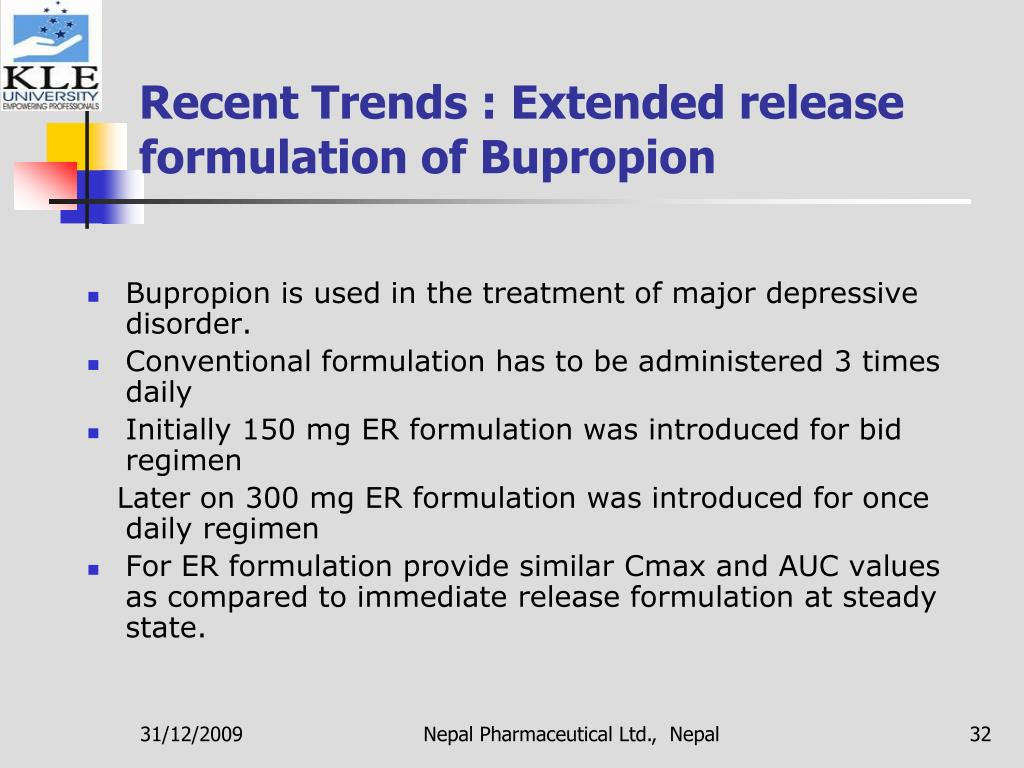 Recent Trends : Extended release formulation of Bupropion