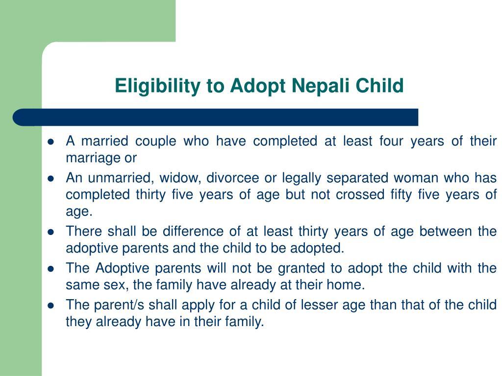 Eligibility to Adopt Nepali Child