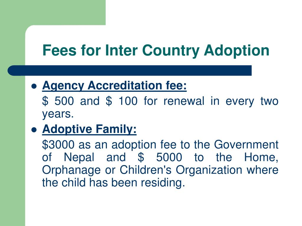 Fees for Inter Country Adoption