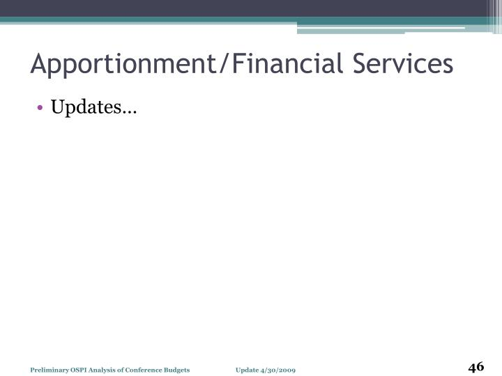 Apportionment/Financial Services