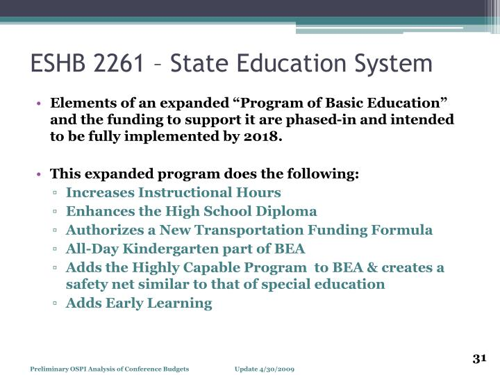 ESHB 2261 – State Education System