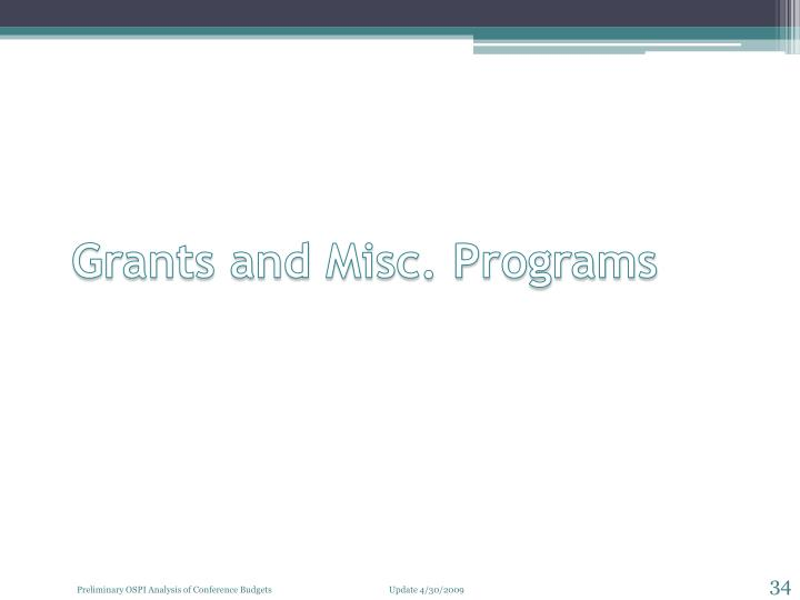 Grants and Misc. Programs