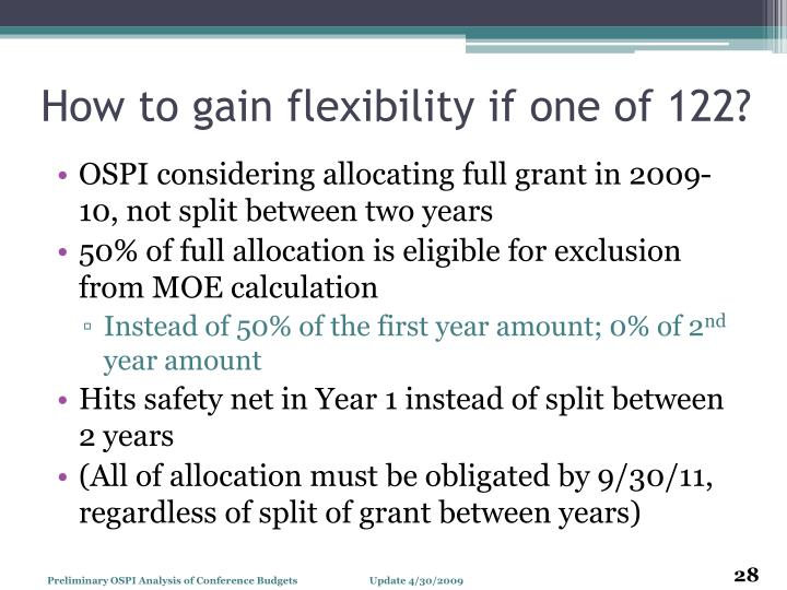 How to gain flexibility if one of 122?