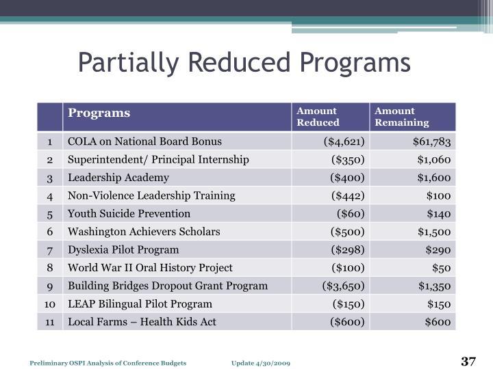 Partially Reduced Programs
