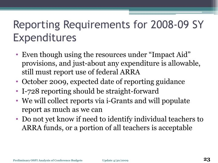 Reporting Requirements for 2008-09 SY Expenditures