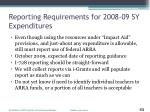 reporting requirements for 2008 09 sy expenditures