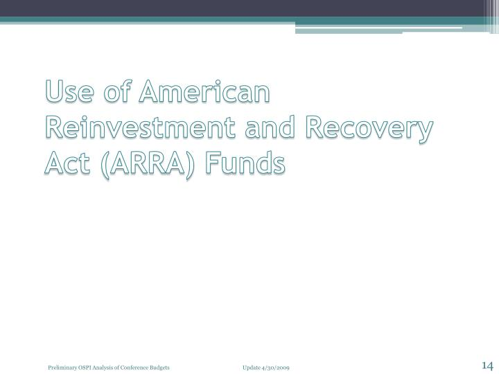Use of American Reinvestment and Recovery Act (ARRA) Funds