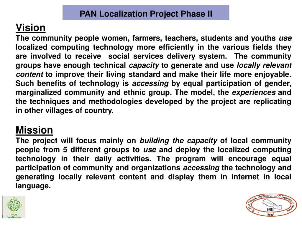PAN Localization Project Phase II