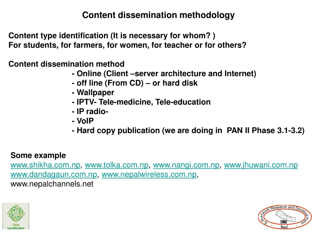 Content dissemination methodology