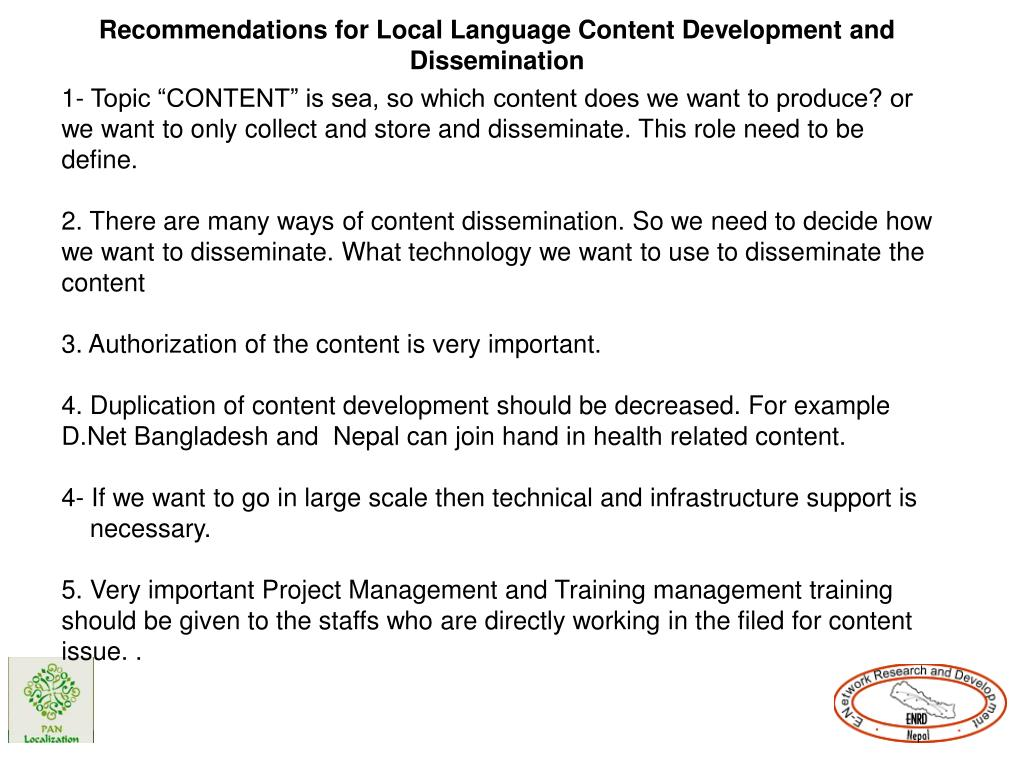 Recommendations for Local Language Content Development and Dissemination