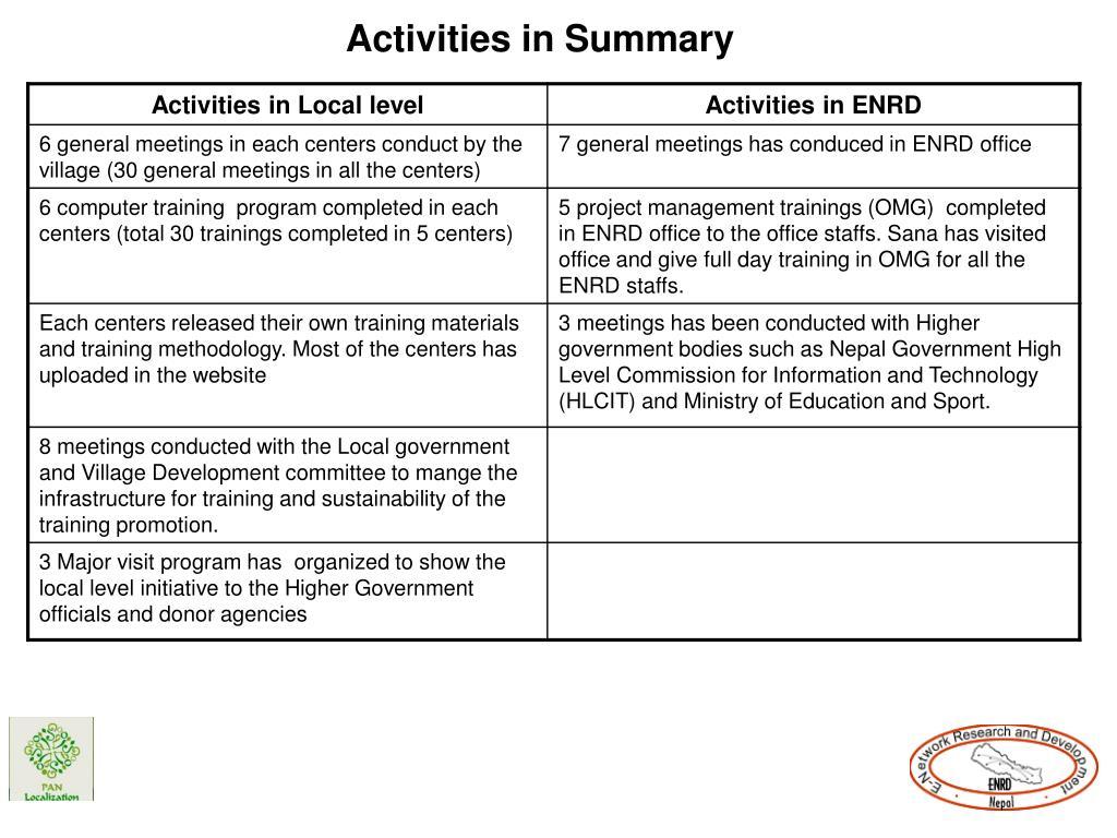 Activities in Summary