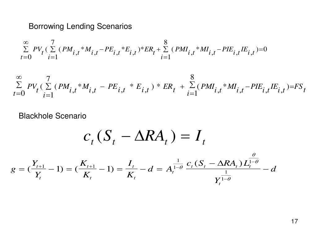 Borrowing Lending Scenarios