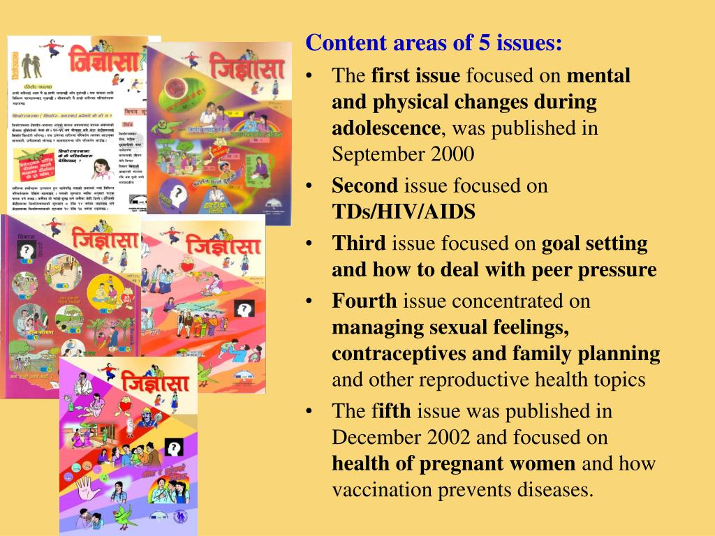 Content areas of 5 issues: