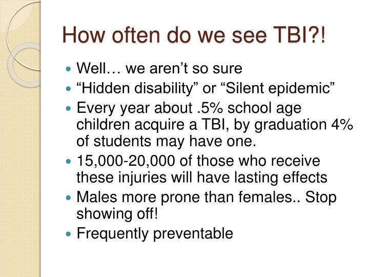 How often do we see TBI?!