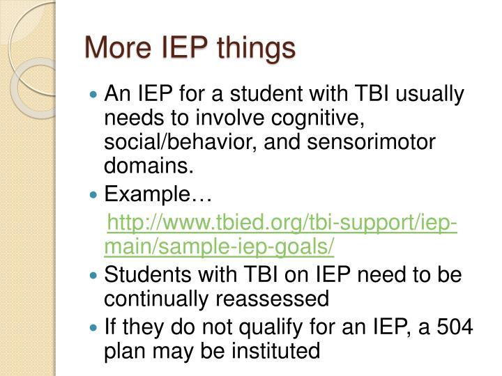 More IEP things