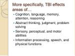 more specifically tbi effects areas of