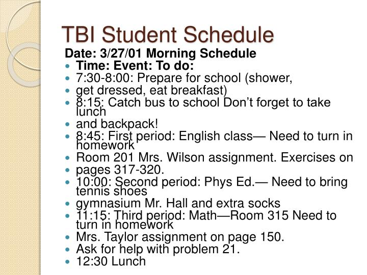 TBI Student Schedule