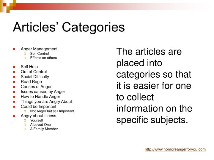 Articles categories