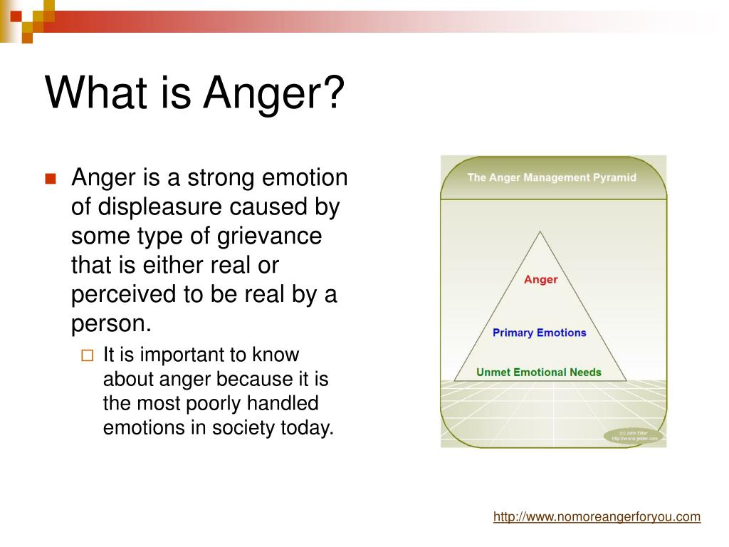 Anger is a strong emotion of displeasure caused by some type of grievance that is either real or perceived to be real by a person.