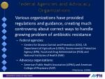 federal agencies and advocacy organizations