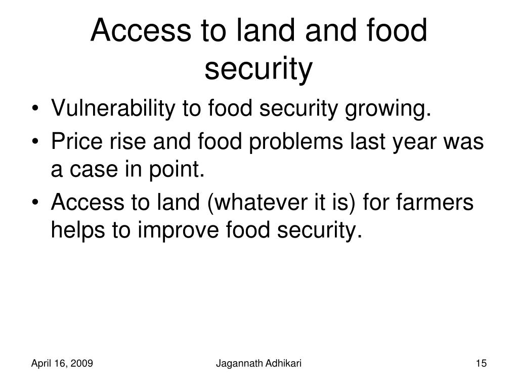 Access to land and food security