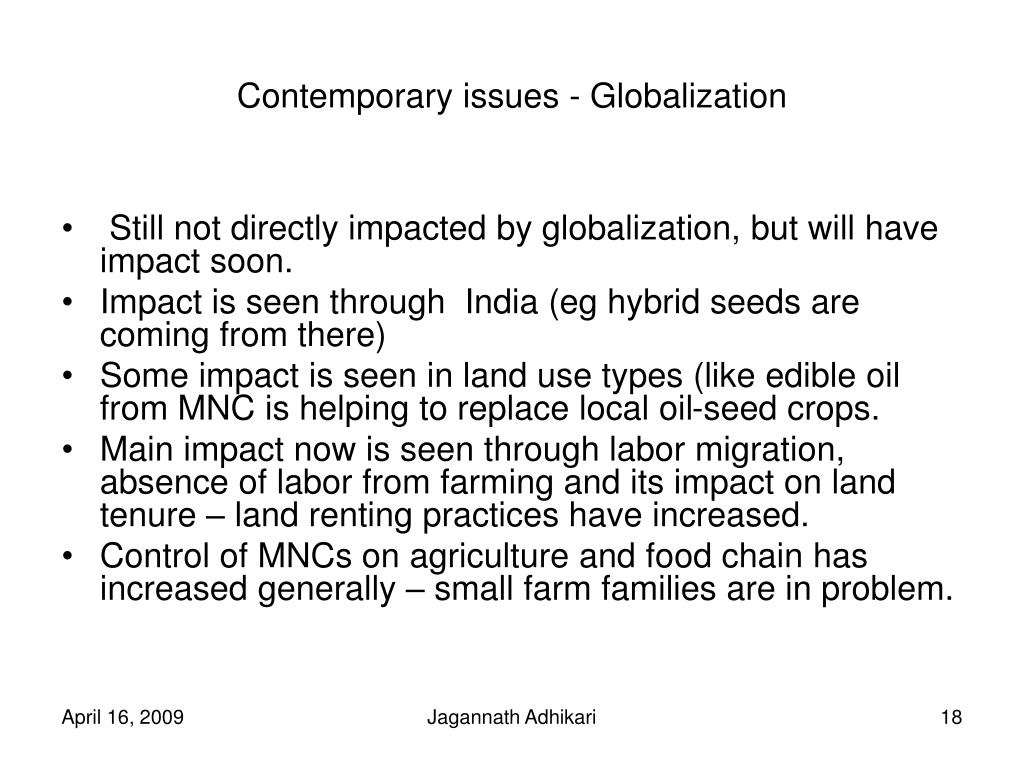 Contemporary issues - Globalization