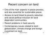 recent concern on land