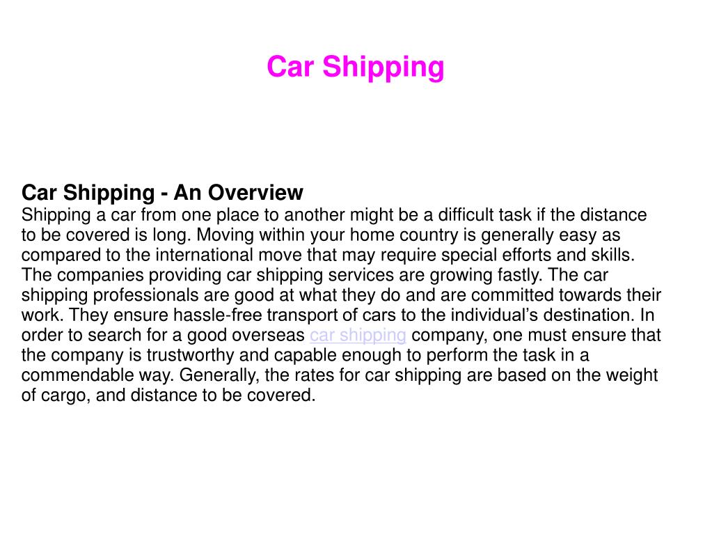 Car Shipping - An Overview