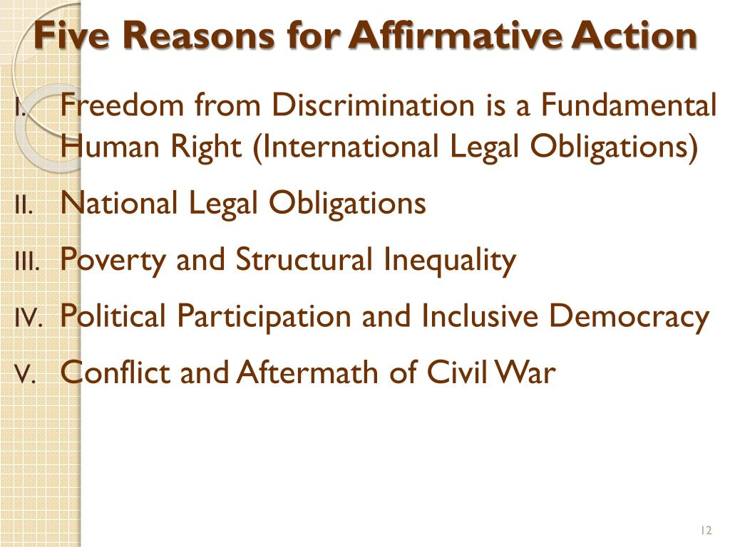 Five Reasons for Affirmative Action