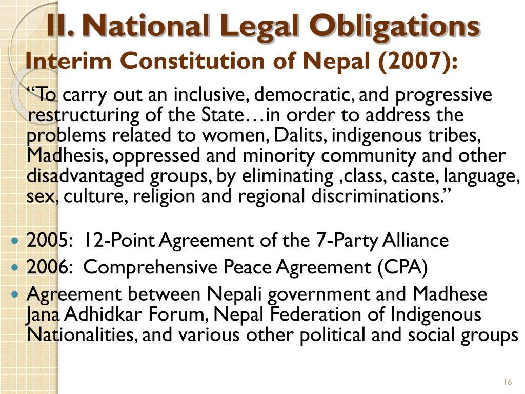 II. National Legal Obligations