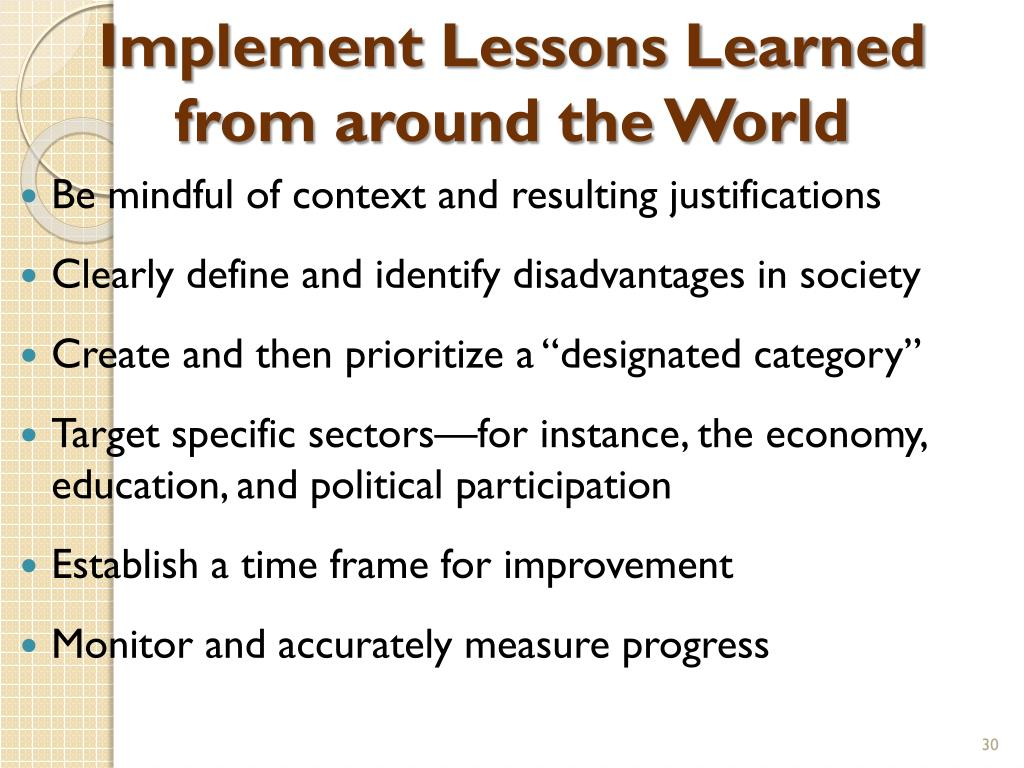 Implement Lessons Learned