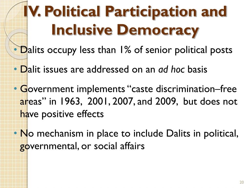 IV. Political Participation and