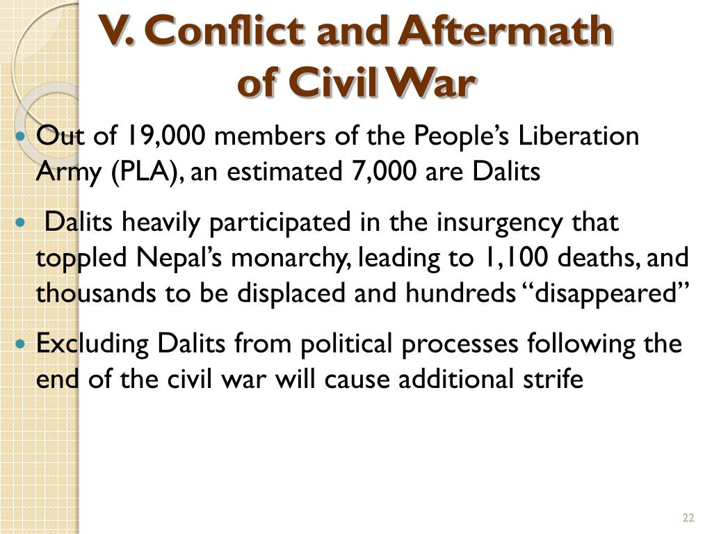 V. Conflict and Aftermath