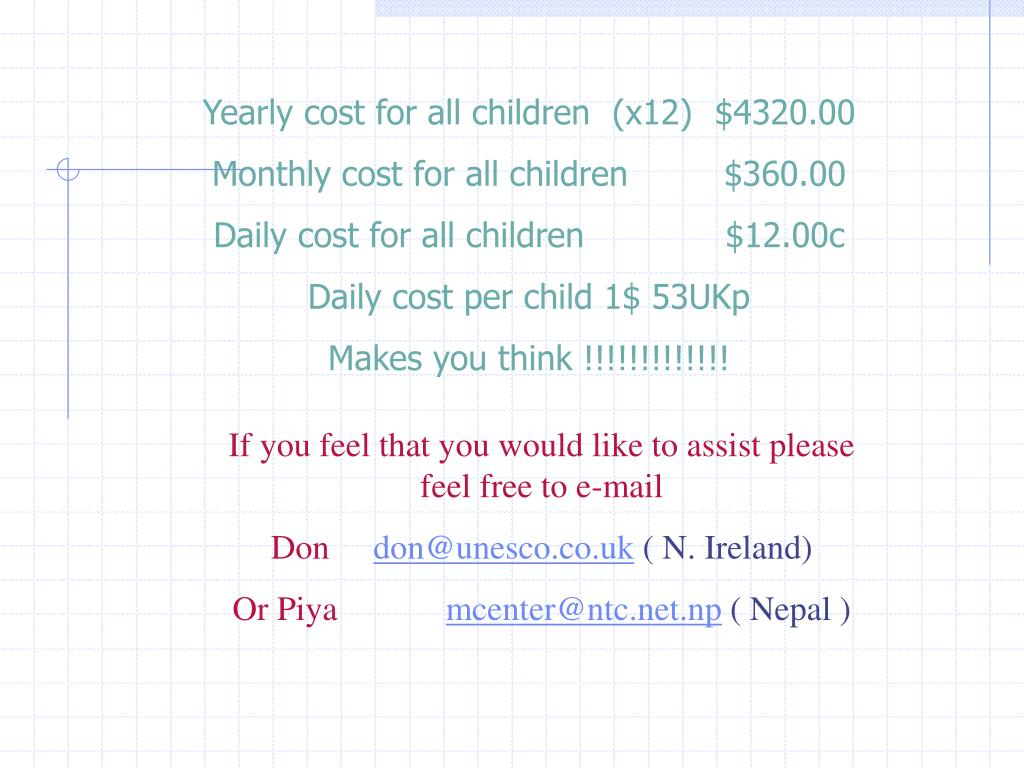 Yearly cost for all children (x12)$4320.00