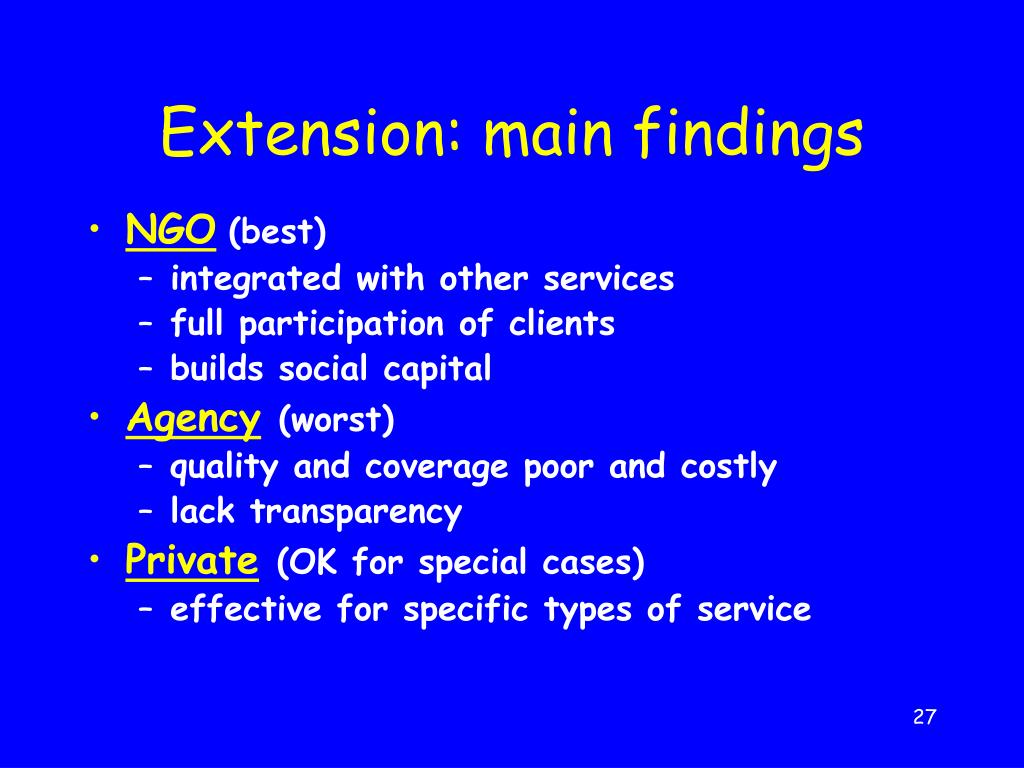 Extension: main findings