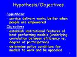 hypothesis objectives
