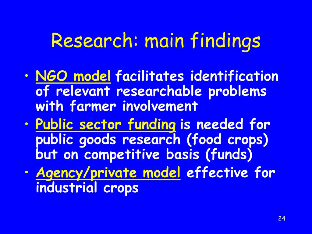 Research: main findings