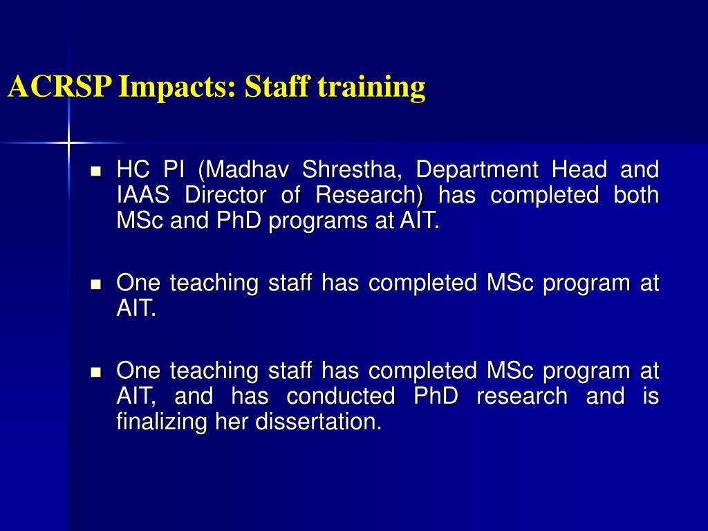 ACRSP Impacts: Staff training