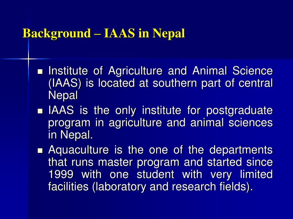 Background – IAAS in Nepal