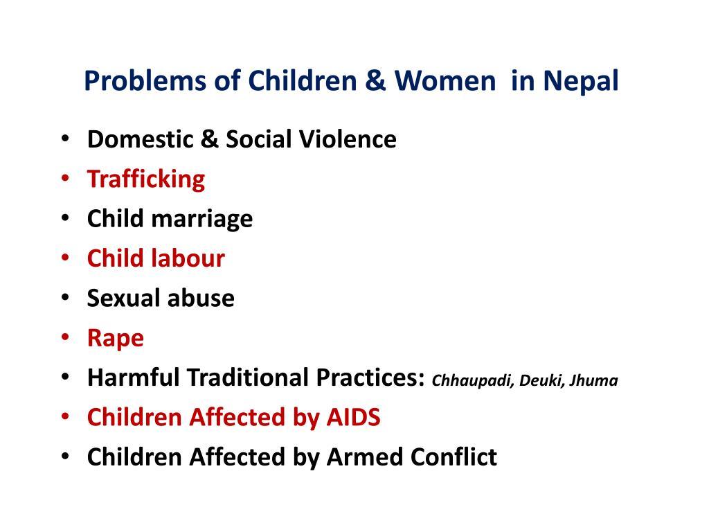 Problems of Children & Women  in Nepal