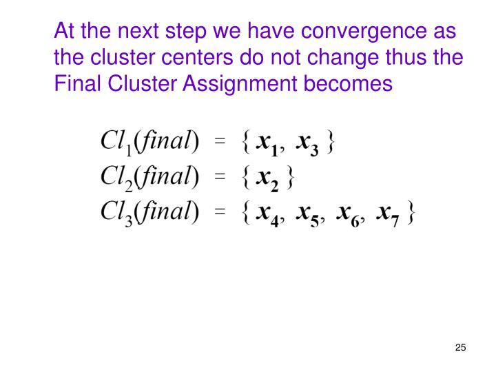 At the next step we have convergence as the cluster centers do not change thus the Final Cluster Assignment becomes